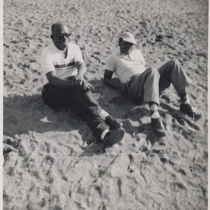 My dad, left, with family friend Hughart Wright. I have no idea where this was, since there were no beaches in Pittsburgh.