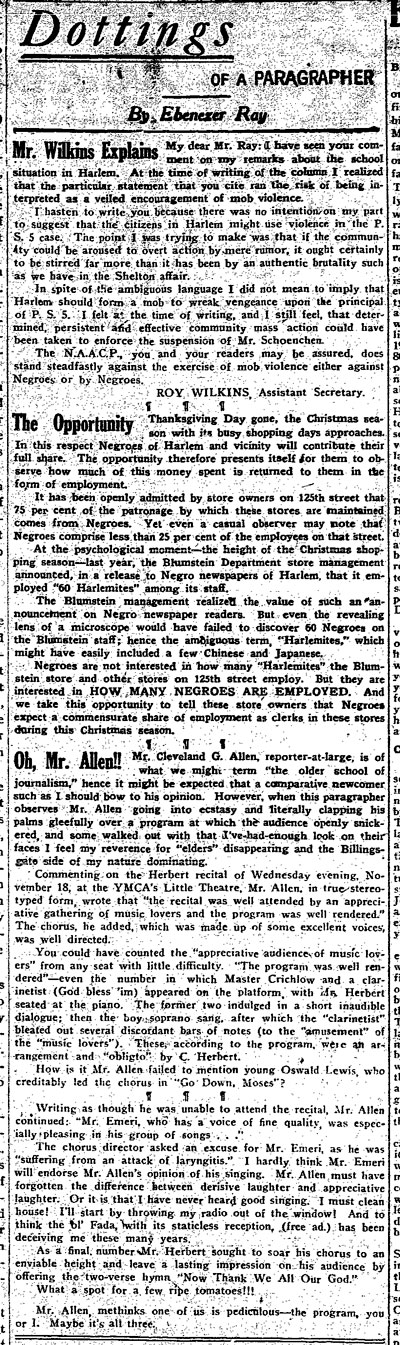 Dottings of a Paragrapher, The New York Age, Dec. 5, 1936
